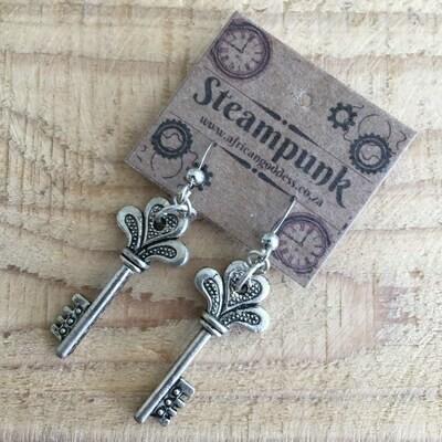 Alice in Wonderland - Antique Silver Key Earrings