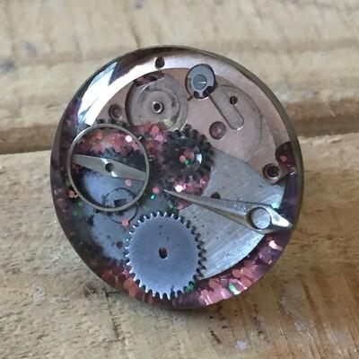 Steampunk Pink Glitter Round Ring