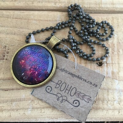 Cosmic Flower of Life 25mm Pendant Necklace - Design A