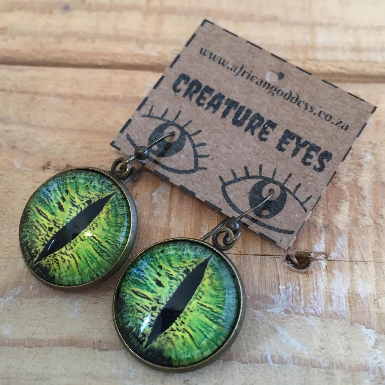 Creature Eye 18mm Dangle Earrings - Green 1