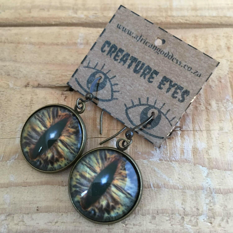 Creature Eye 18mm Dangle Earrings - Brown 1