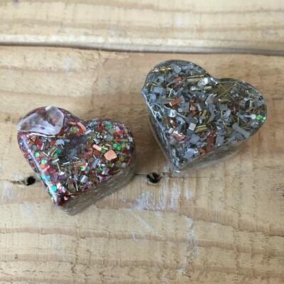 Orgonite - Mini Heart -  Red Glitter