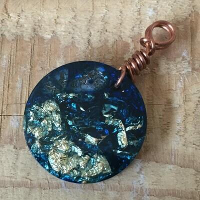 Blue Orgonite Round Mini Pendant