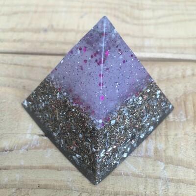 Orgonite - Medium Pyramid - Pink/Purple Glitter