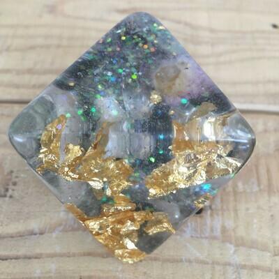 Orgonite - Octahedron -  Gold Leaf, Spirit Quartz, Clear Quartz, Rose Quartz, Green Aventurine, Moonstone & Black Obsidian