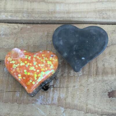 Orgonite - Mini Heart -  Clear with Orange Glitter