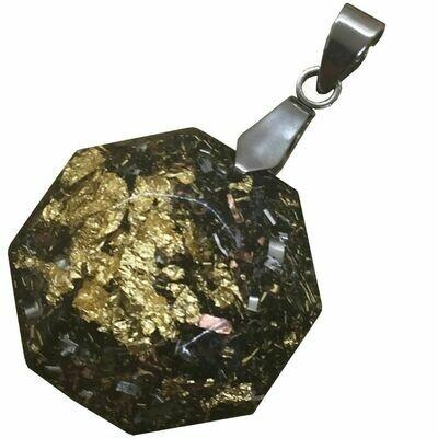 Orgonite Hexagonal Mini Pendant Necklace - Stainless Steel - Black Tourmaline
