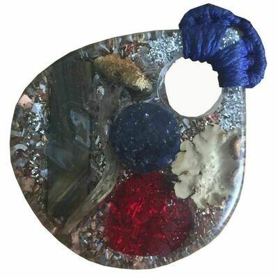Orgonite Large Teardrop Macrame Pendant Necklace - Various Stones