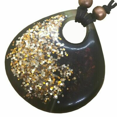 Orgonite Large Teardrop Pendant Necklace - Gold Tone Glitter & Developing Ink - Clear Quartz
