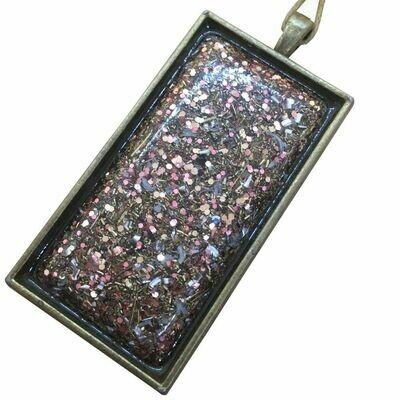 Orgonite Rectangular Brass Base Pendant Necklace Pink - Clear Quartz