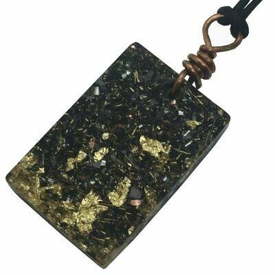 Orgonite Rectangular Mini Pendant Necklace - Black Tourmaline