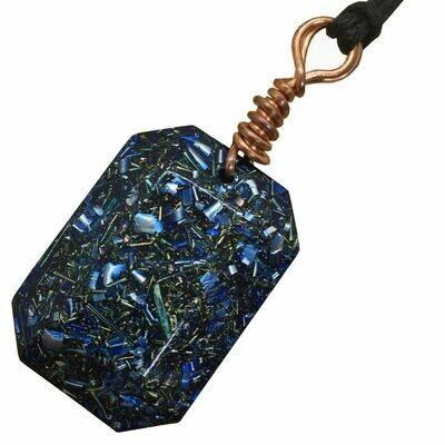 Orgonite Rectangular Mini Pendant Necklace Blue - Clear Quartz