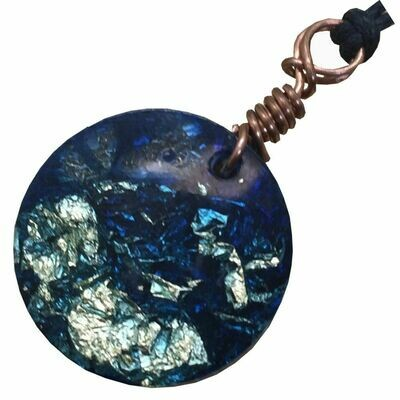Orgonite Round Mini Pendant Necklace Blue - Clear Quartz