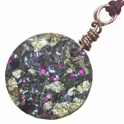 Orgonite Round Mini Pendant Necklace Pink - Clear Quartz, Selenite, Black Tourmaline