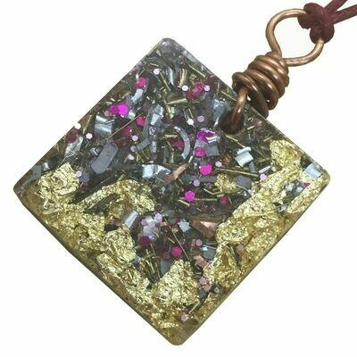 Orgonite Square Mini Pendant Necklace Pink - Clear Quartz, Selenite & Black Tourmaline