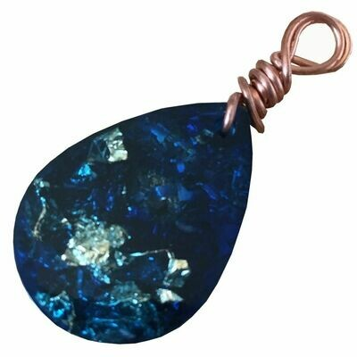 Orgonite Teardrop Mini Pendant Necklace Blue - Clear Quartz