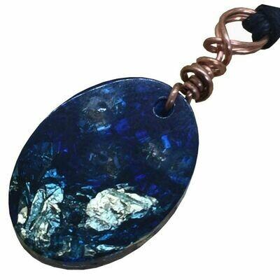 Orgonite Oval Mini Pendant Necklace Blue - Clear Quartz