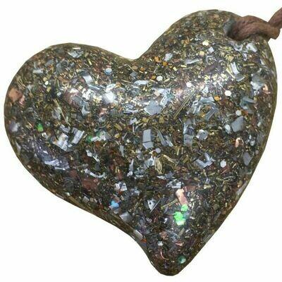 Orgonite Large Heart Pendant Necklace - Clear Quartz