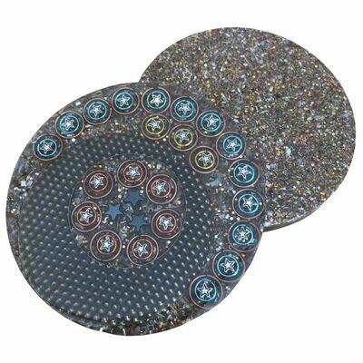 Orgonite Mini Charging Plate Hematite Stars - Clear Quartz