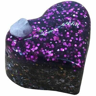 Orgonite Mini Heart Purple Glitter - Black Tourmaline