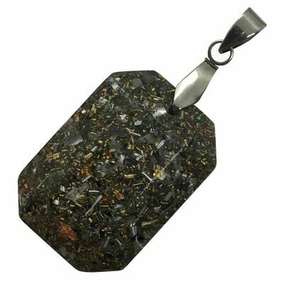 Orgonite Rectangular Mini Pendant Necklace Amethyst - Stainless Steel