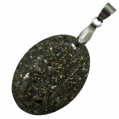 Orgonite Oval Mini Pendant Necklace Amethyst - Stainless Steel