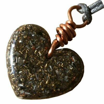 Orgonite Mini Heart Pendant Necklace - Amethyst