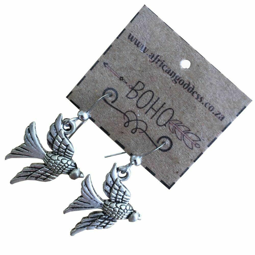 BOHO Antique Silver Swallow Earrings
