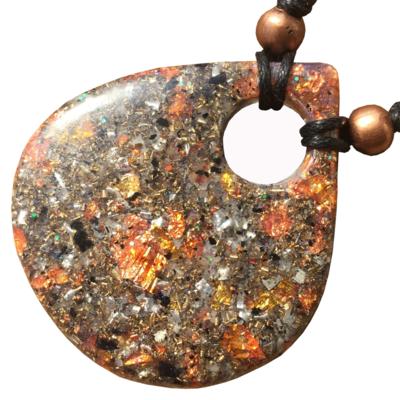 Orgonite Large Teardrop Pendant Necklace Pink - Amethyst +