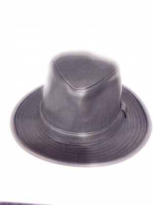 Men fedora hat Pu leather color grey size s/m