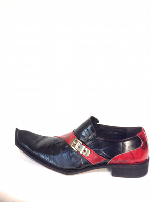Men unique leather shoes zota g838-103 black /red
