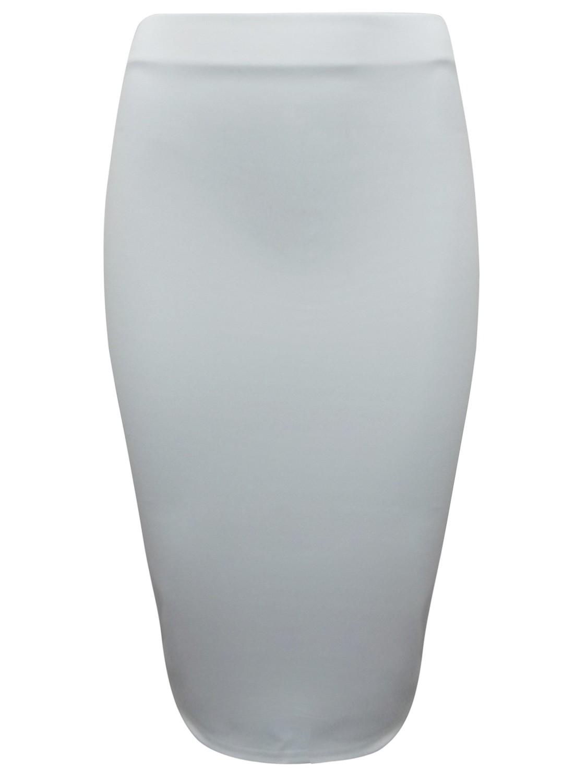 Cream Soft Scuba Jersey Pencil Skirt