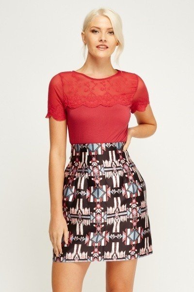 Aztec Box Pleat Skirt