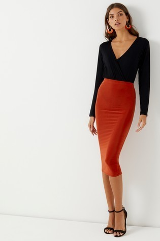 Boohoo Slinky Fitted Midaxi Skirt
