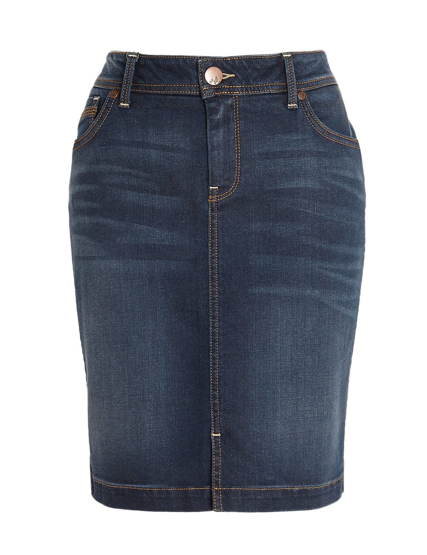 Cotton Rich Washed Look Denim Mini Skirt