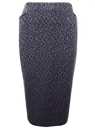 First Avenue GREY Pure Silk Floral Print Long Skirt