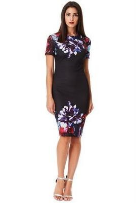 Black Digital Floral Print Midi Dress