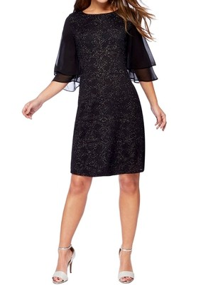 BLACK Glitter Frill Sleeves Knee Length Petite Dress