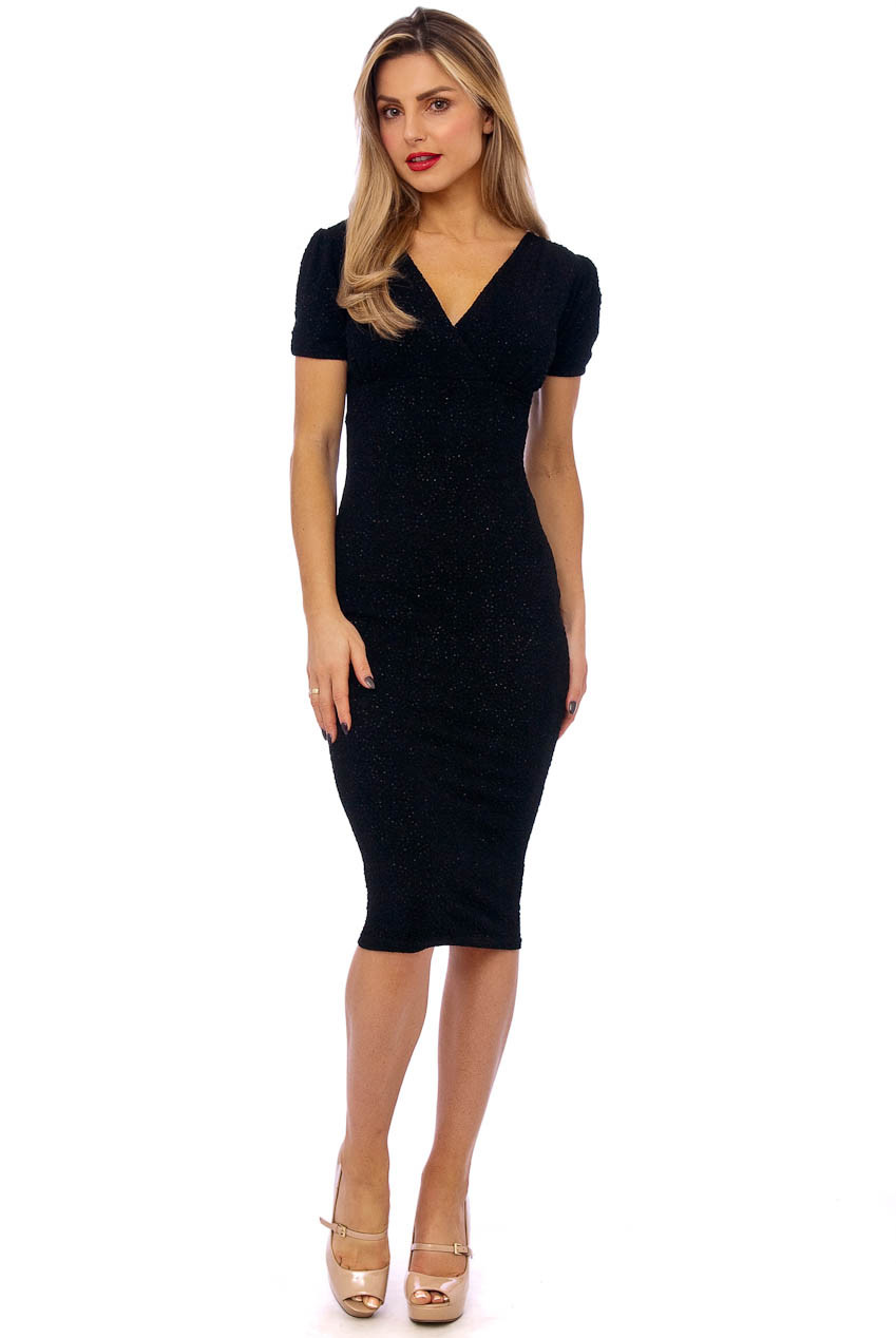 Black V Wrap Short Sleeve Dress