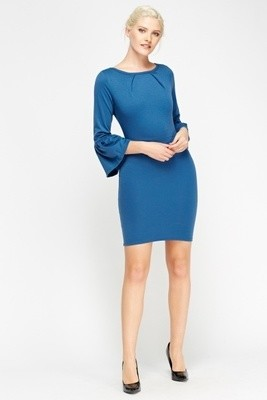 Blue Flare Sleeve Dress