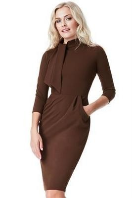 Chocolate Midi Dress With Pocket