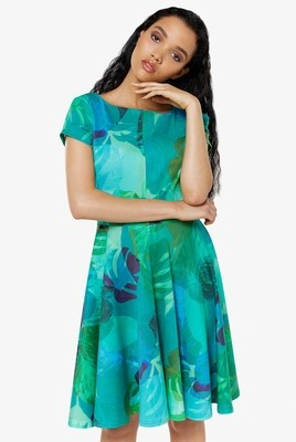 Closet Green Print Cap Sleeve Skater Dress