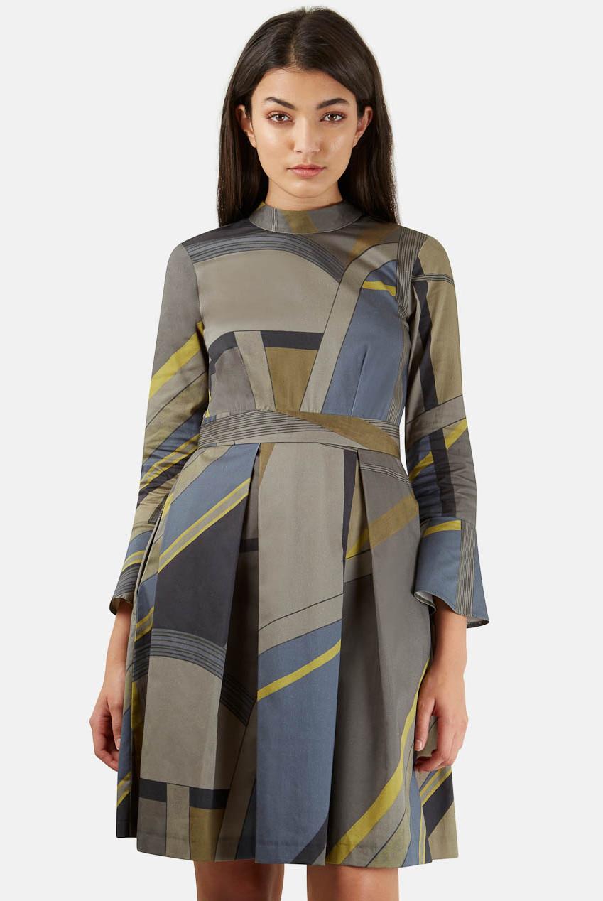 Closet Khaki Block Print Dress
