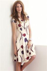 Cream tulip fluted dress Next