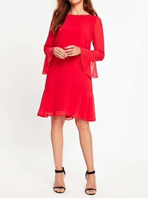 Flute Sleeve Shift Dress
