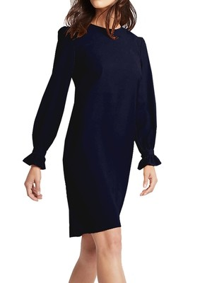 Frill Cuff Tunic Navy Dress