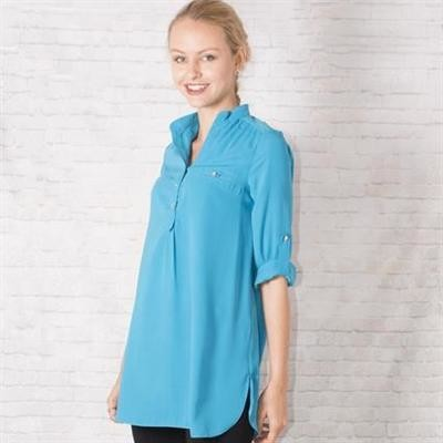 Blue Roll-Up Sleeve Tunic Shirt