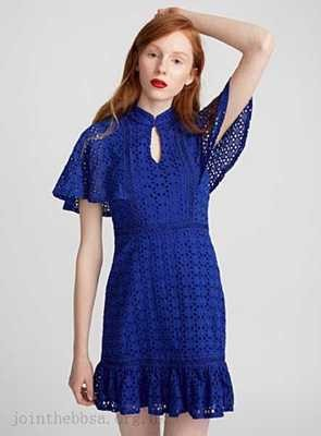 High Neck Broderie Angalise Dress