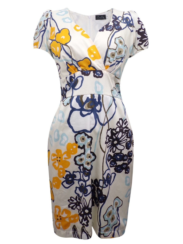 Ivory Pure Cotton Floral Print Tulip Dress