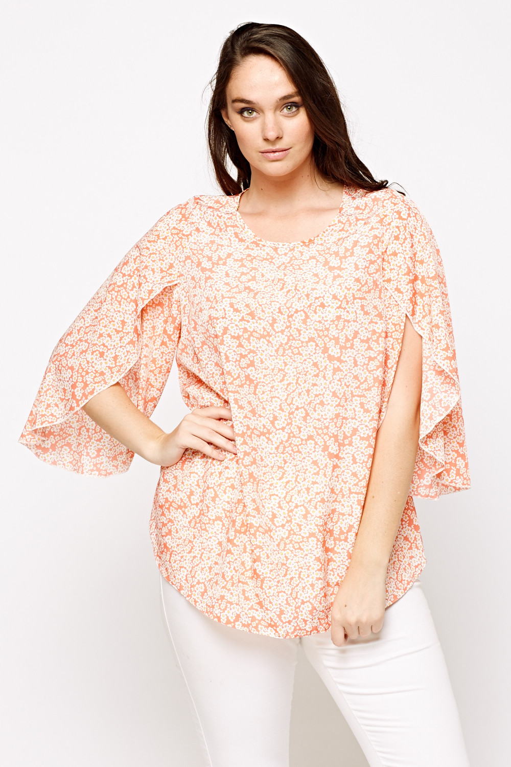 Coral Wrapped Sleeve Flower Printed Top